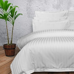 Sateen Stripe White 1000TC Quilt Cover Set