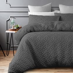 Arizona Charcoal Quilt Cover Set