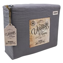 Vintage Dreams Washed Charcoal Sheet Set
