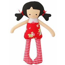 Baby Martha Red Floral Doll Rattle