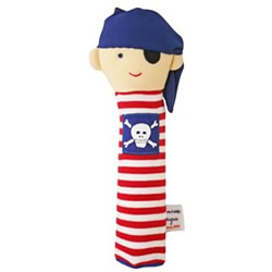 Blue & Red Stripe Squeaker Rattle