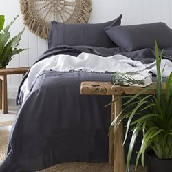 French Linen Charcoal Quilt Cover Set