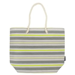 Grey Yellow Stripe Beach Tote Bag