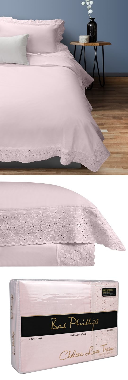 Chelsea Lace Rosewater Quilt Cover Set