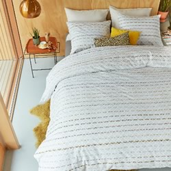 Woven Lines Yellow Quilt Cover Set