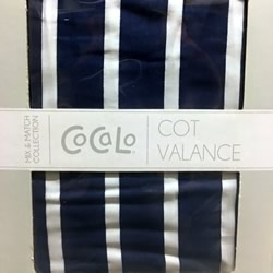 Navy With White Stripe Cot Valance