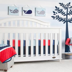 Navy And Red Stripe Coverlet