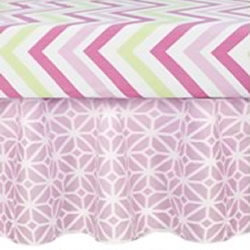 Pink Lattice Cot Valance