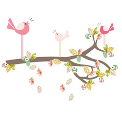 Enchanted Dark Pink Branch Stickers