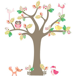 Enchanted Dark Pink Tree Stickers