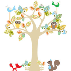 Enchanted Neutral Blue Tree Stickers