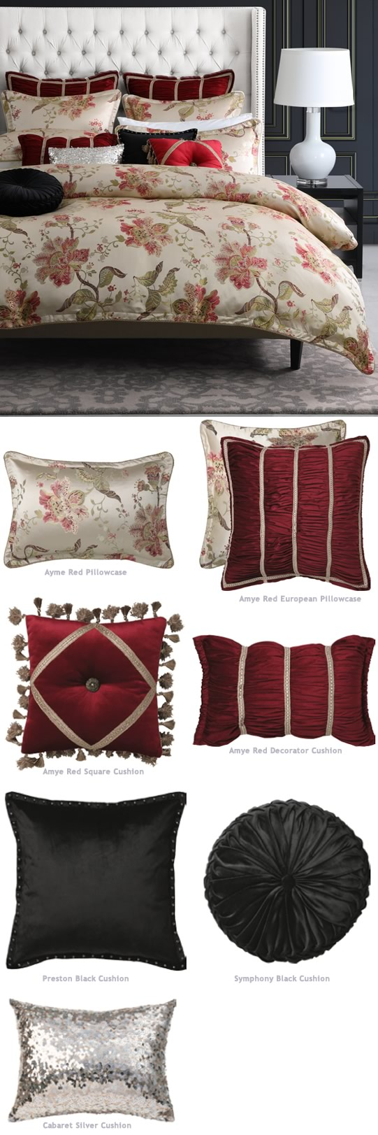 Amye Red Bed Linen