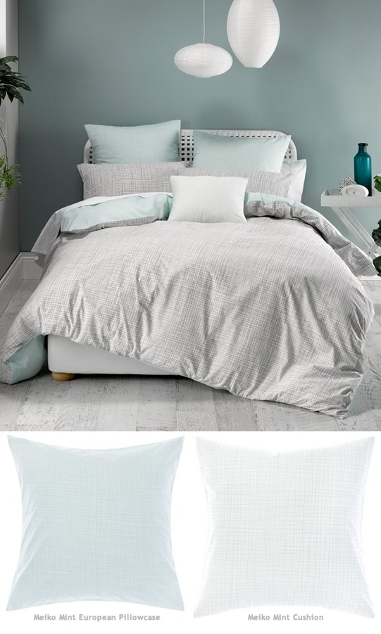 Meiko Mint Quilt Cover Set By Deco Cottonbox