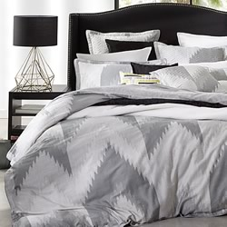 Flamestitch Silver Quilt Cover Set