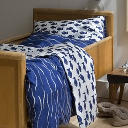 Fish Blue Organic Cotton Quilt Cover Set