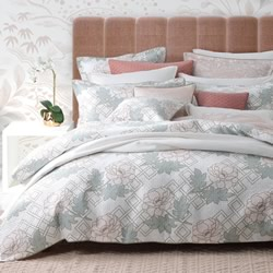 Floral Trellis Quilted Quilt Cover Set