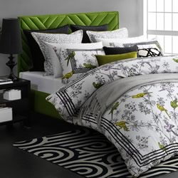 Parakeets Lime Quilt Cover Set