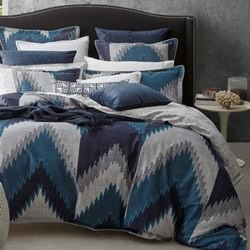 Flamestitch Teal Quilt Cover Set