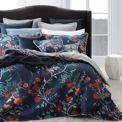 Spanish Floral Indigo Quilt Cover Set