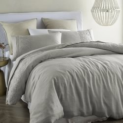 Antique Grey Lace Linen Quilt Cover Set