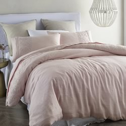 Antique Pink Lace Linen Quilt Cover Set