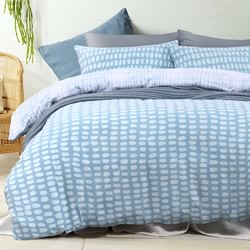 Blue Printed Flannelette Quilt Cover Set