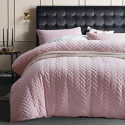 Blush Chevron Velvet Quilted Quilt Cover Set