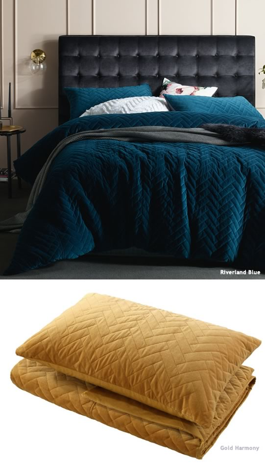 Chevron Quilted Velvet Bedding By Accessorize Cottonbox