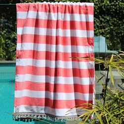 Coral Stripe with Blue Tassel Turkish Towel