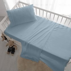 Cot Sheet Set Blue Vintage Washed Cotton