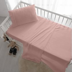 Cot Sheet Set Blush Vintage Washed Cotton