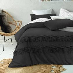 Black Denim Boho Tassels Quilt Cover Set