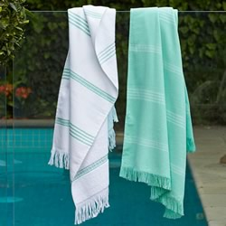 Green And White Turkish Towels