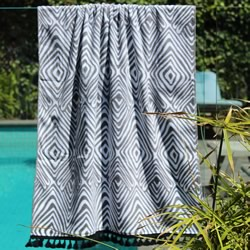 Tribal Grey with Black Tassel Turkish Towel
