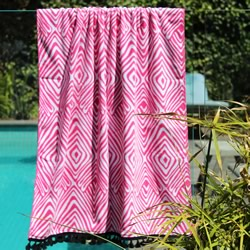 Tribal Pink with Black Tassel Turkish Towel