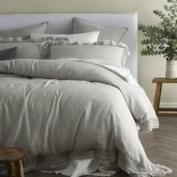 Provincial Grey Laced Edge Quilt Cover Set