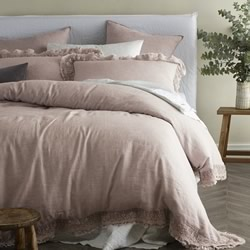 Provincial Pink Laced Edge Quilt Cover Set