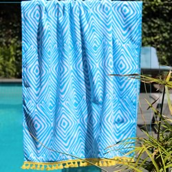 Tribal Sky Blue with Yellow Tassel Turkish Towel