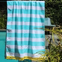 Sky Blue Stripe Yellow Tassels Turkish Towel