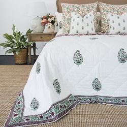 Aida Hand Block Printed Coverlet