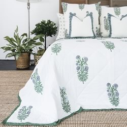 Iris Hand Block Printed Coverlet