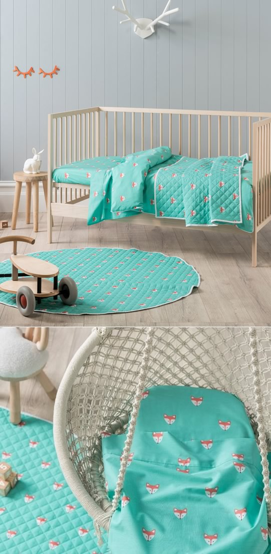 Foxy Teal Cot Quilt Cover By Hiccups Cottonbox