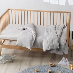 Maddison Pale Grey Cot Quilt Cover & Coverlet