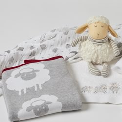 Sheep Knitted Blanket Red Trim