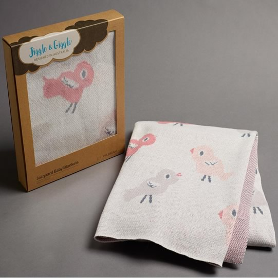 Baby Bird & Bunny Jacquard Cotton Blanket