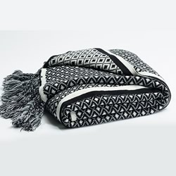 Chunky Black Cream Knit Throw