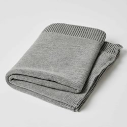 Grey Knit Cotton Blankets 2 PACK
