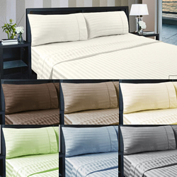 375TC Cotton Sateen Hotel Striped Sheet Sets