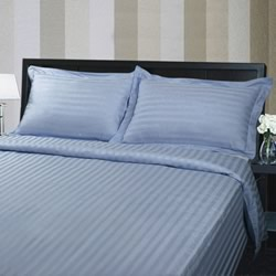 Hotel Quality 375TC Cotton Striped Ice Blue Quilt Cover Set