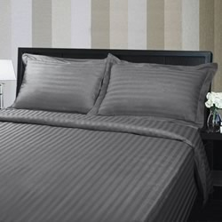 Hotel Quality 375TC Cotton Striped Charcoal Quilt Cover Set